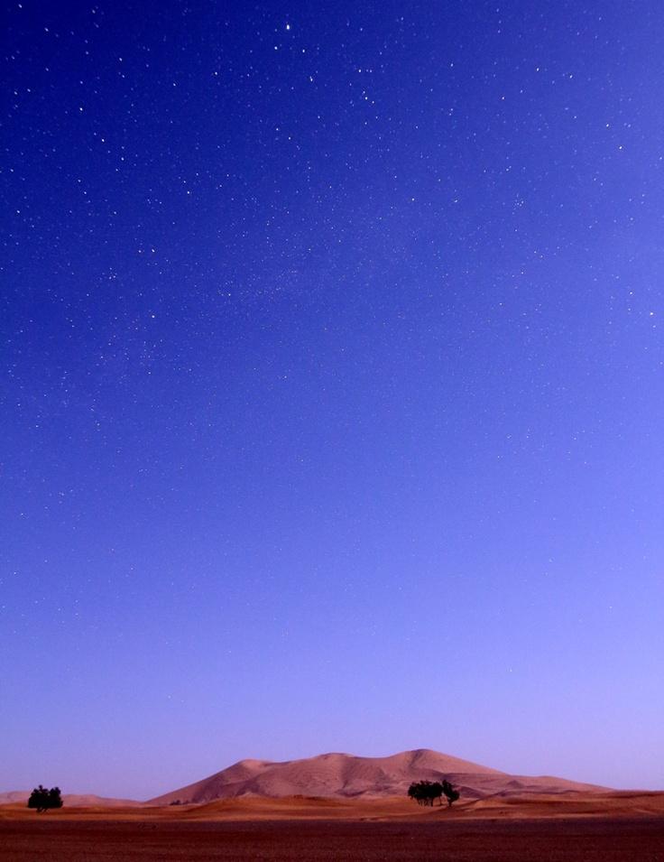 Vega guarda il deserto dall'alto. La duna sembra dipinta, ma è reale, nessuna alterazione di colori!