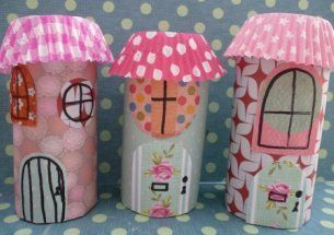 Cute houses out of toilet paper rolls