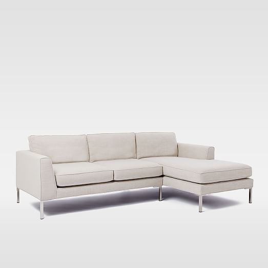Marco Sectional Set 1: Right Chaise, Left Sofa, Pindot Faux Suede, Bone