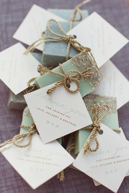 Wedding favor: original & home made soap with gold leaf and antique gold cord