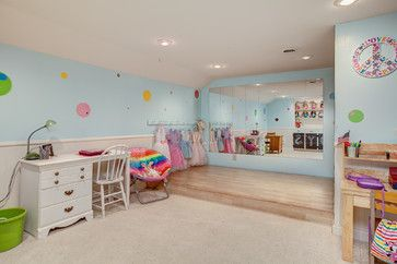A young dancers dream, this playroom stage has plenty of room for kids to move around — and a big mirror so they can check their form. With so many pretty dresses nearby, little girls will love playing princess.