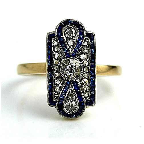 Vintage Sapphire Engagement Ring Square Cut Blue Sapphire Diamond Filigree Rose Cut Engagement Ring Platinum 18K Gold Engagement Ring! by ArtDecoDiamonds on Etsy https://www.etsy.com/ca/listing/248613834/vintage-sapphire-engagement-ring-square