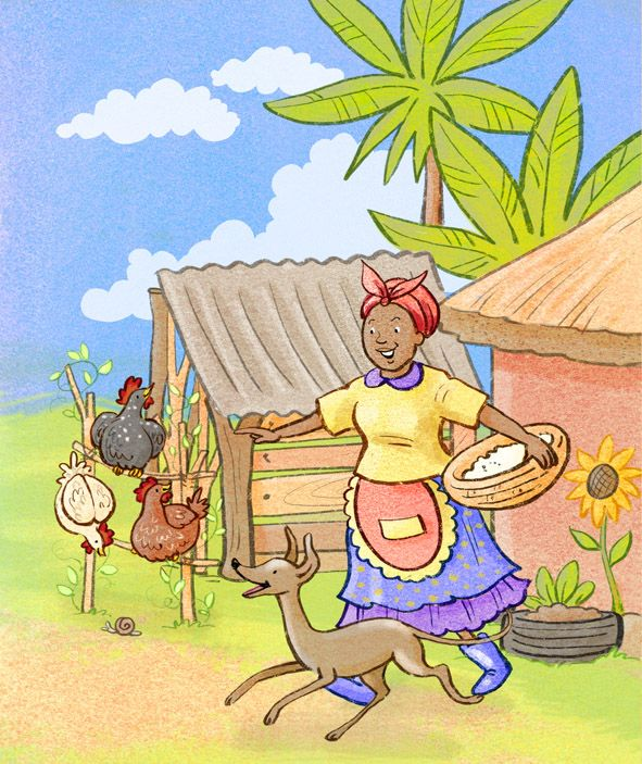 Happy #hens on a little #farm in #africa - a recent commission for Pearson Education Africa - Chantelle and Burgen Thorne #childrensbook #kidlitart #illustration#chantelleandburgen #brightcolors#cuteanimals #chickens #dogs #village
