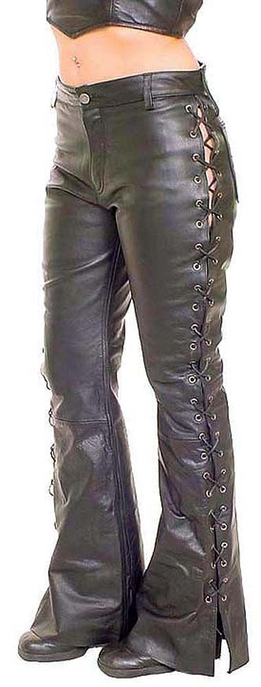 Leather pants from Jamin Leather. Lace-up sides.
