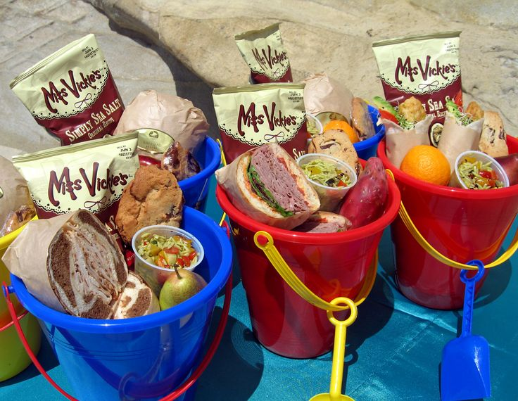LOVE THIS IDEA!!!! Add a fruit, a juice box, No GMO chip bag, and a sub sandwich. Place large blankets down on the grass and have a group picnic.   Food served in beach-pail. this would so cool if your kid had a birthday at the beach
