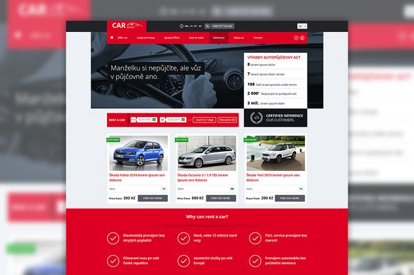 Car rent website PSD template by Marcoo on Creative Market