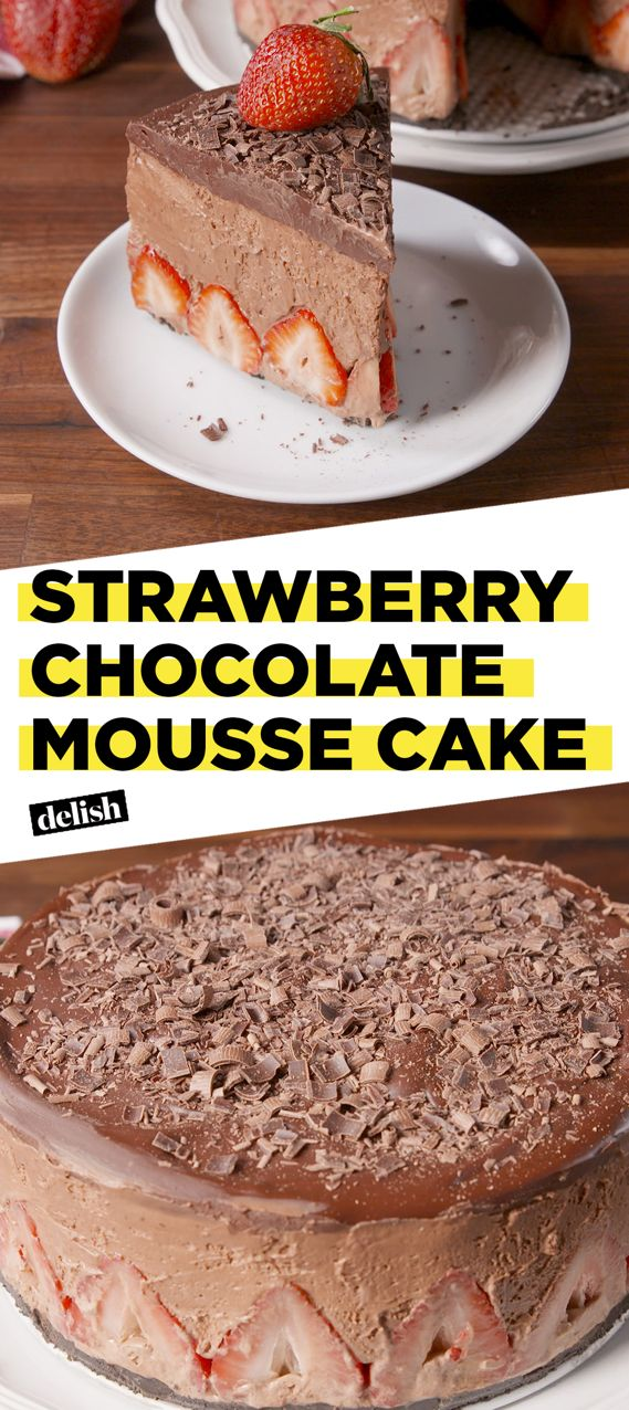 This Strawberry Chocolate Mousse Cake is the most decadent thing you'll ever eat. Get the recipe at Delish.com