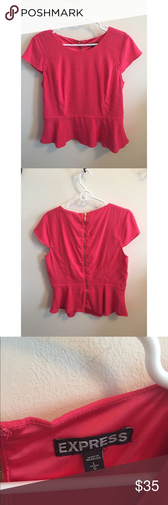 Express Pink Peplum Blouse - Zip Back - SIZE L Hot pink, sleek Express peplum top with gold zipper back detail. Perfect business casual, great for day to night! Great condition, like new! Express Tops Blouses