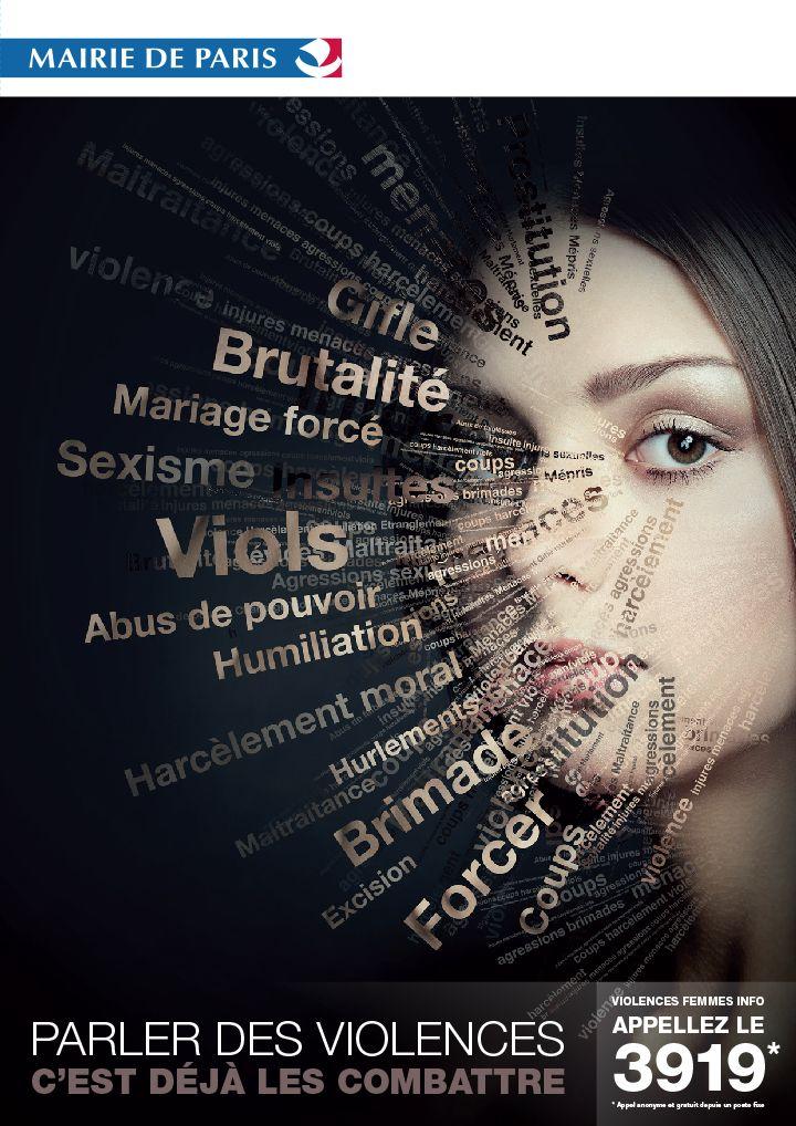 Affiche Violence faites aux femmes de la mairie de Paris, 2013 : mise en place du numéro d'appel 3919