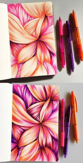 Je Pentel stylos à bille RSVP dans cet écart de 3 sketchbook couleurs.