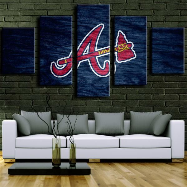 Atlanta Braves Reddish Blue Symbol In 2020 Atlanta Braves Man Cave Atlanta Braves Canvas Art Wall Decor