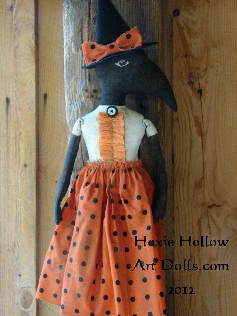 Primitive Halloween Witch Crow Folk Art Doll.