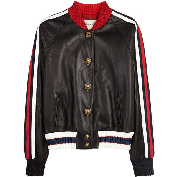 GUCCI Lurex-trimmed Leather Bomber Jacket - Size 8 ($2,915) ❤ liked on Polyvore featuring outerwear, jackets, embroidered bomber jackets, real leather jackets, flight jacket, cropped jacket and embroidered leather jacket