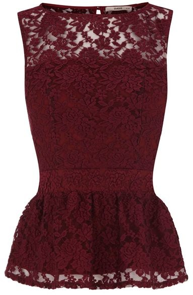 Oasis Lace Peplum Top would look super cute with a cardi and a statement necklace