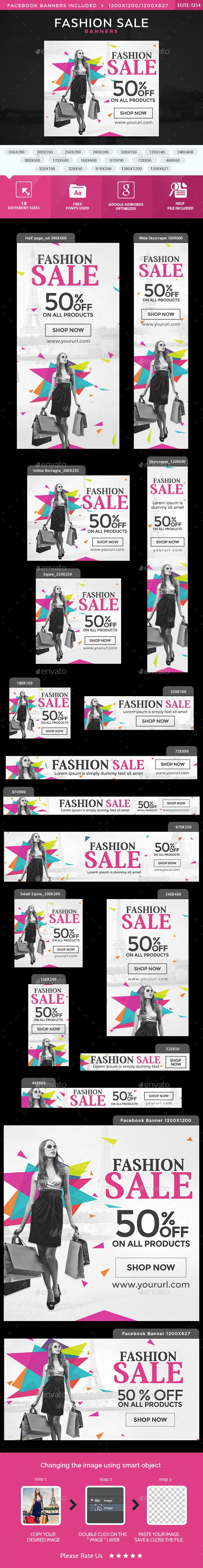 Fashion Sale Banners — Photoshop PSD #banner set #adroll • Available here → https://graphicriver.net/item/fashion-sale-banners/15159568?ref=pxcr