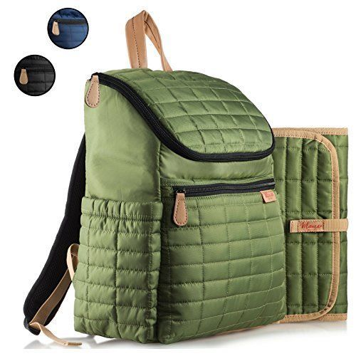 Diaper Bag Backpack with Stroller Straps for Baby Care Changing Pad Daily Green #DiaperBagBackpack