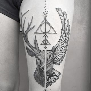 hedwig and stag tattoo harry potter - Google Search