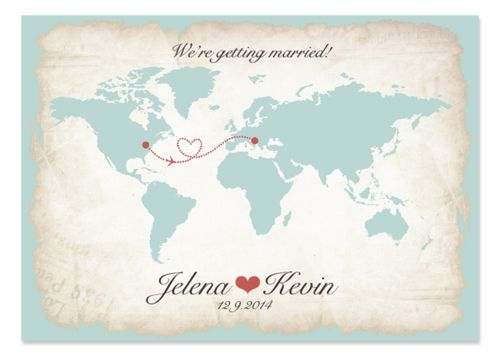 Vintage inspired, travel theme, with world map. Bilingual wedding invitation design.  From the blog of Six Leaf Design.