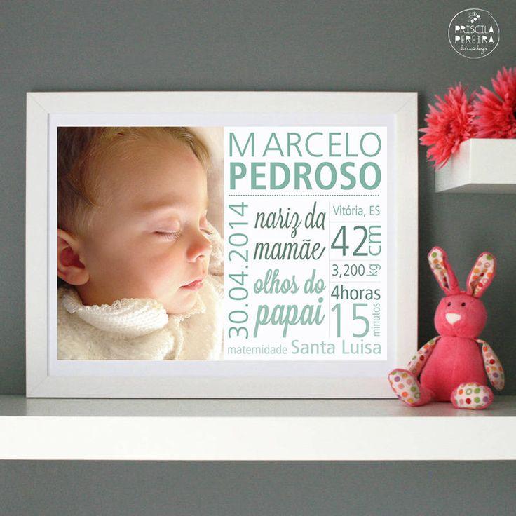 Confira aqui - Pôster Chegada do Bebê :: Digital I - Priscila Pereira :: ilustração e design