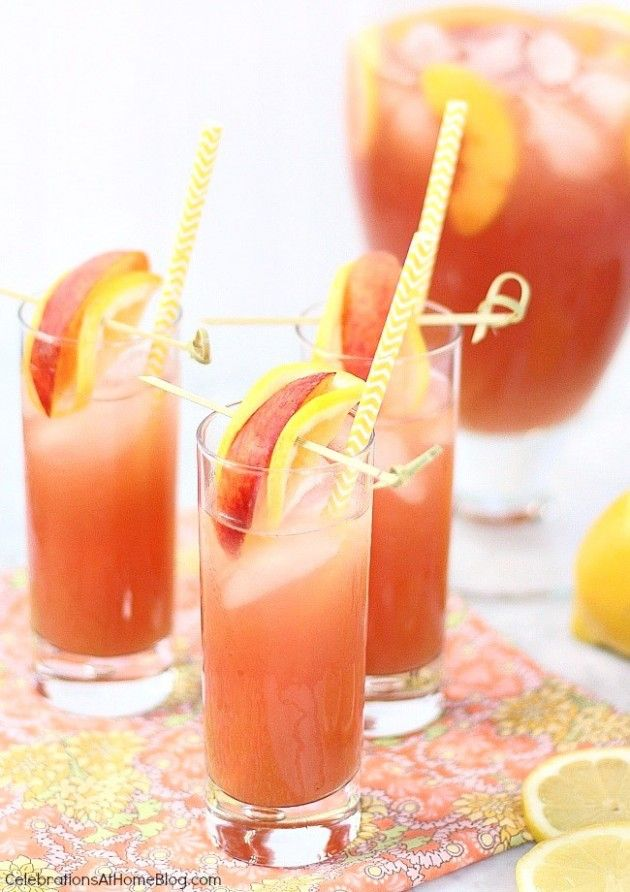 This pomegranate peach lemonade is full of fruity flavor and delicious to serve all summer long.