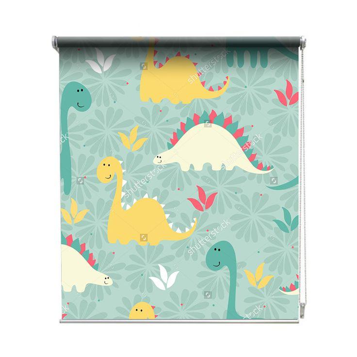 Rolgordijn Dino patroon   De rolgordijnen van YouPri zijn iets heel bijzonders! Maak keuze uit een verduisterend of een lichtdoorlatend rolgordijn. Inclusief ophangmechanisme voor wand of plafond! #rolgordijn #gordijn #lichtdoorlatend #verduisterend #goedkoop #voordelig #polyester #dino #dinosaurus #patroon #baby #babykamer #dinosauriërs #jongenskamer #jongen