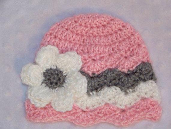Crochet Newborn Bucket Hat Pattern : Crochet Baby Hat Newborn Baby Chevron Hat by ...