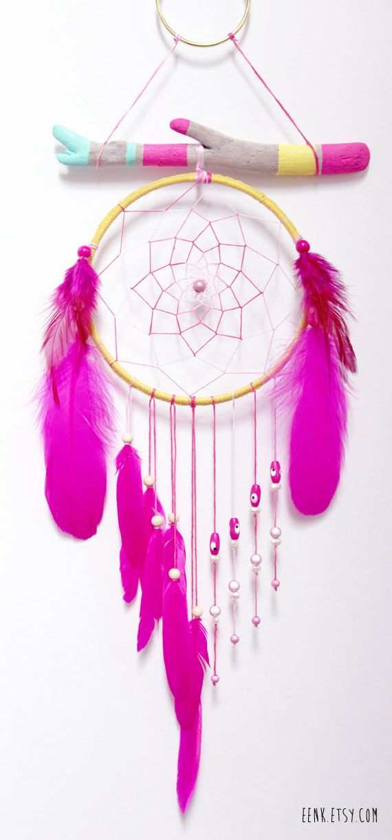 Summer Solstice Painted Driftwood Dream Catcher Mobile by eenk at www.etsy.com/shop/eenk