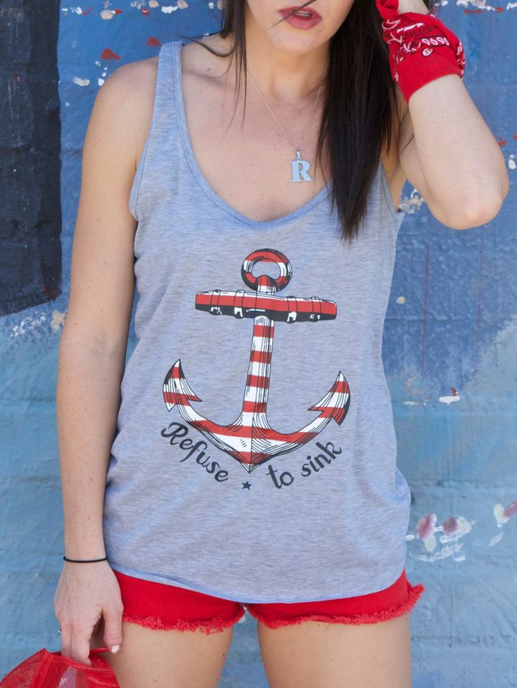Casual Anchor Embellished Scoop Neck Tank Top For Women