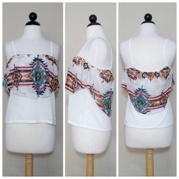 Aztec Cami Top NWT Super cute top. So soft & comfortable to wear. 85% Polyester & 15% Linen. Spaghetti Straps. Please no trading. PRICE IS FIRM unless it's bundled. Self Esteem Tops