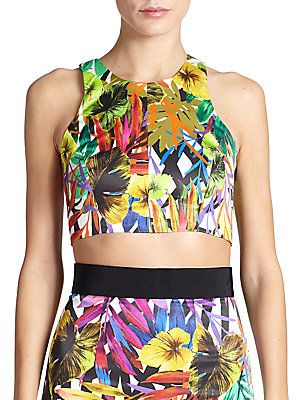 MILLY Tropical-Print Racer Crop Top