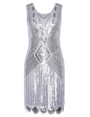 SERINA Sequin 20's Inspired Dress - Silver