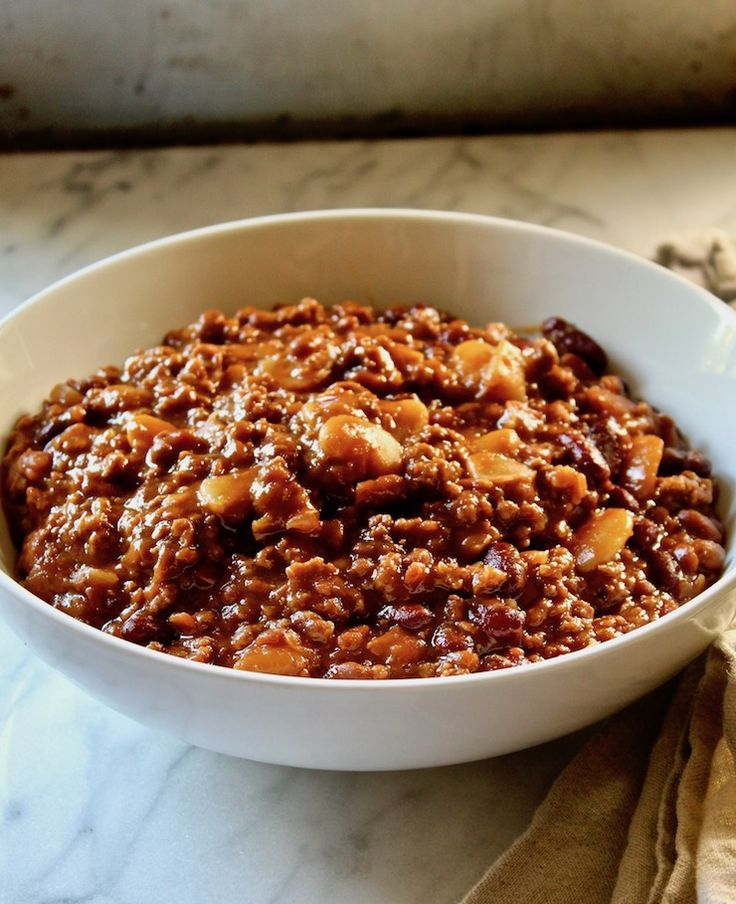 Calico Beans, a baked beans dish with three kinds of beans, ground beef and bacon ~ perfect for a crowd and summer's potlucks and barbecues.