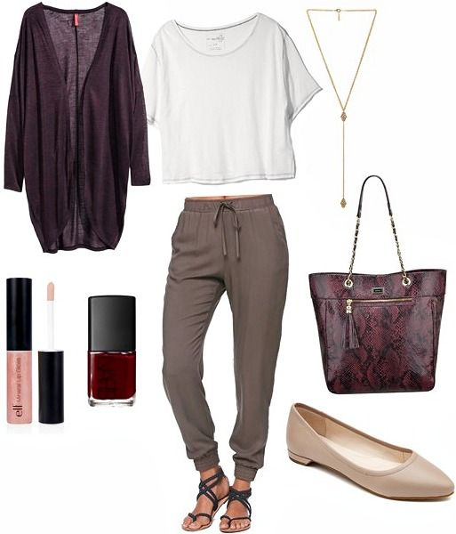 How to wear slouchy pants is the focus, with fashion tips and outfit ideas for wearing trendy slouchy pants for both a day of classes and a night out.