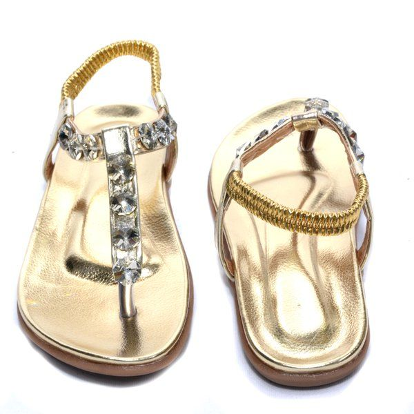 Golden Flat With Stone Sandal For Women or Girls.