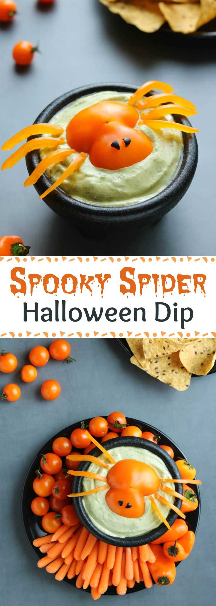 """Quick and easy Halloween idea! A total hit at Halloween parties, on appetizer buffets, or even as a fun after-school snack before trick-or-treating! This adorable """"Spooky Spider"""" Halloween Appetizer Dip idea works with practically any dip – from ranch dip to other vegetable dips, even hummus or a 7-layer dip. Darling for Halloween vegetable trays, it makes a great Halloween centerpiece! Bonus: this Halloween Dip recipe idea is a HEALTHY Halloween recipe, too! 