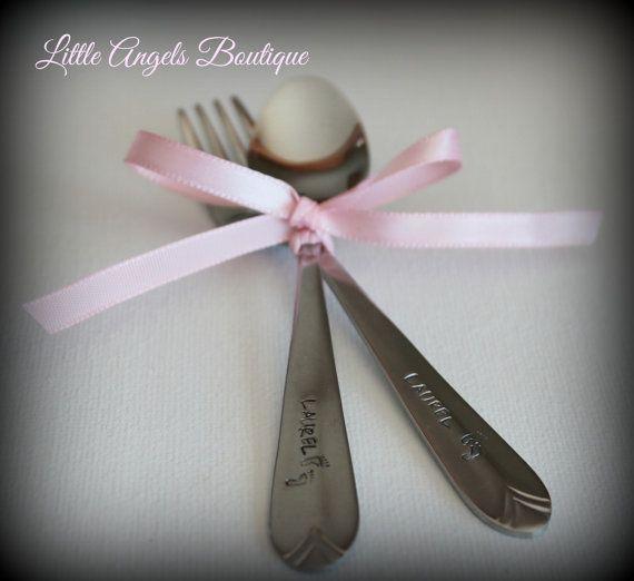 Personalized Baby Fork Spoon Keepsake Baby by littleangelsboutique, $10.00