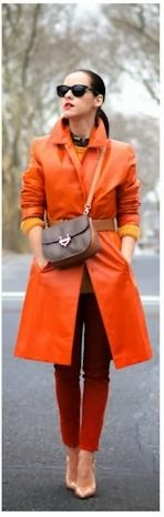 Orange coat & cranberry pants 9to5 - pretty close to the perfect outfit