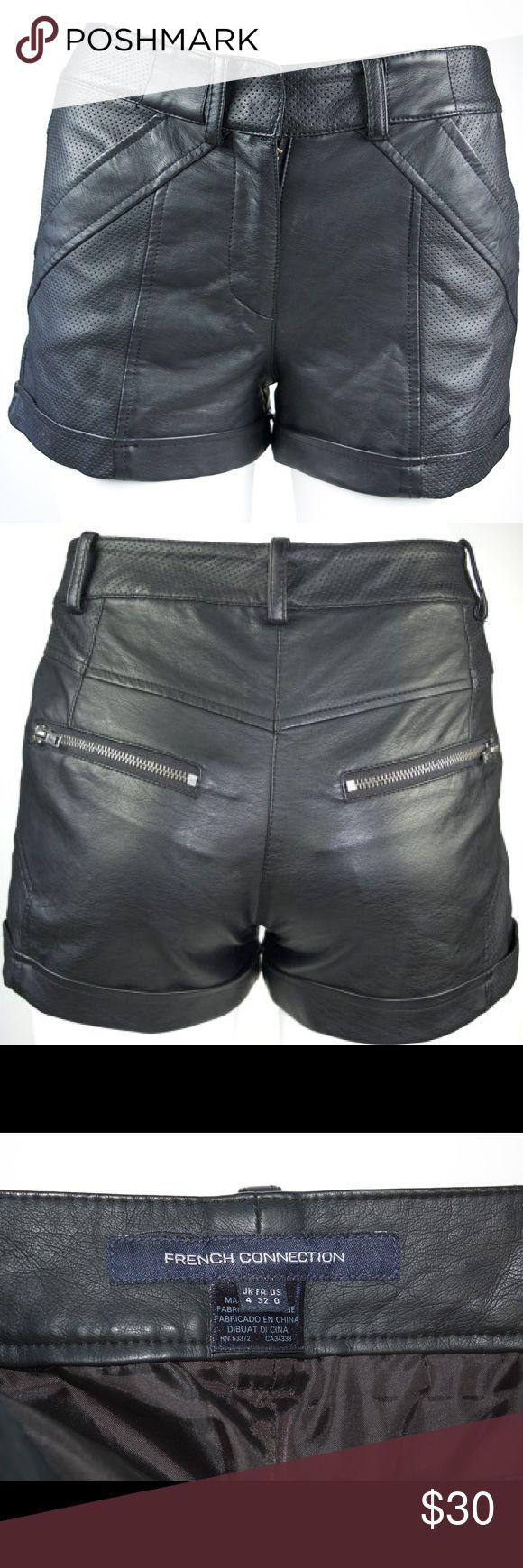 French Connection Faux Leather Black Shorts Sz 0 Gently used, no flaws. French Connection Shorts