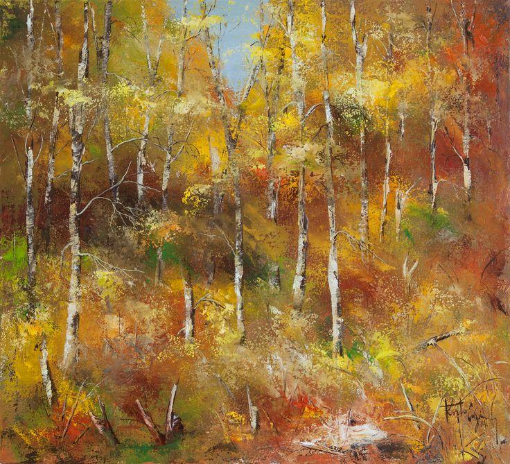 Padure de mesteceni toamna /  Őszi nyírfa erdő /  Birch forest in the autumn /  Bosco di betulle d'autunno /  Forêt de bouleaux d'automne /  Birkenwald im Herbst /   50 / 55 cm /   Kurta Cazimir 2014 /   #painting #oilpainting #autumn /  https://www.facebook.com/KurtaCazimir /   foto: Kurtha Arpad Cristian /  www.kurtaarpadcristian.weebly.com