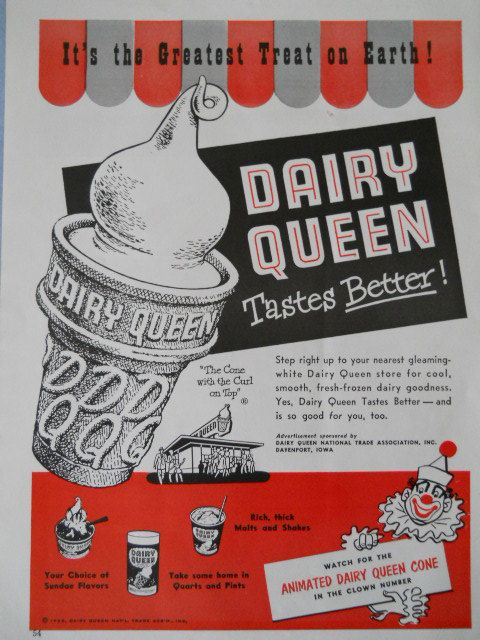 Vintage 1953 DAIRY QUEEN advertisement  for by CaptainEphemera, $7.95