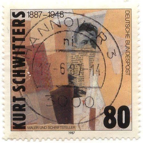 Kurt Schwitters Postal Stamp, Deutsche Bundespost, 1987