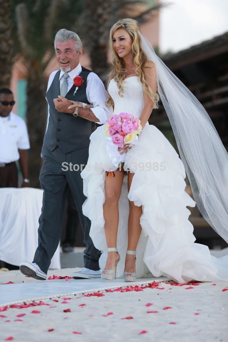 Он-Лайн Продажи Высокая Низкая Свадебное Платье 2016 Белый Рюшами Из Органзы Платье Невесты Романтический Пляж Свадебное Платье 2017