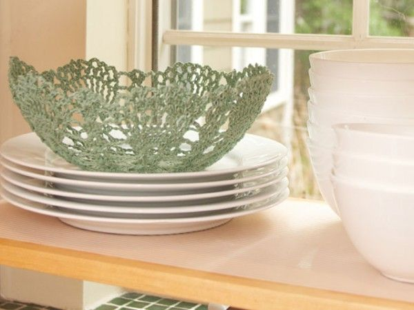 Crochet Bowls by On the Hook  She uses a sugar water mix to harden her crochet designs into bowls.  Brilliant!