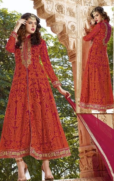 Picture of Beauteous Saffron Designer Salwar Kameez