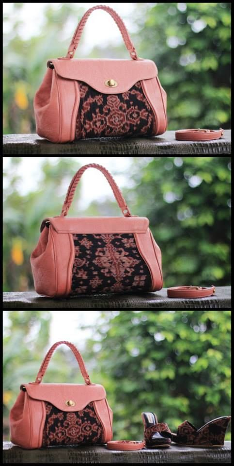 tenun maumere in baby pink bag