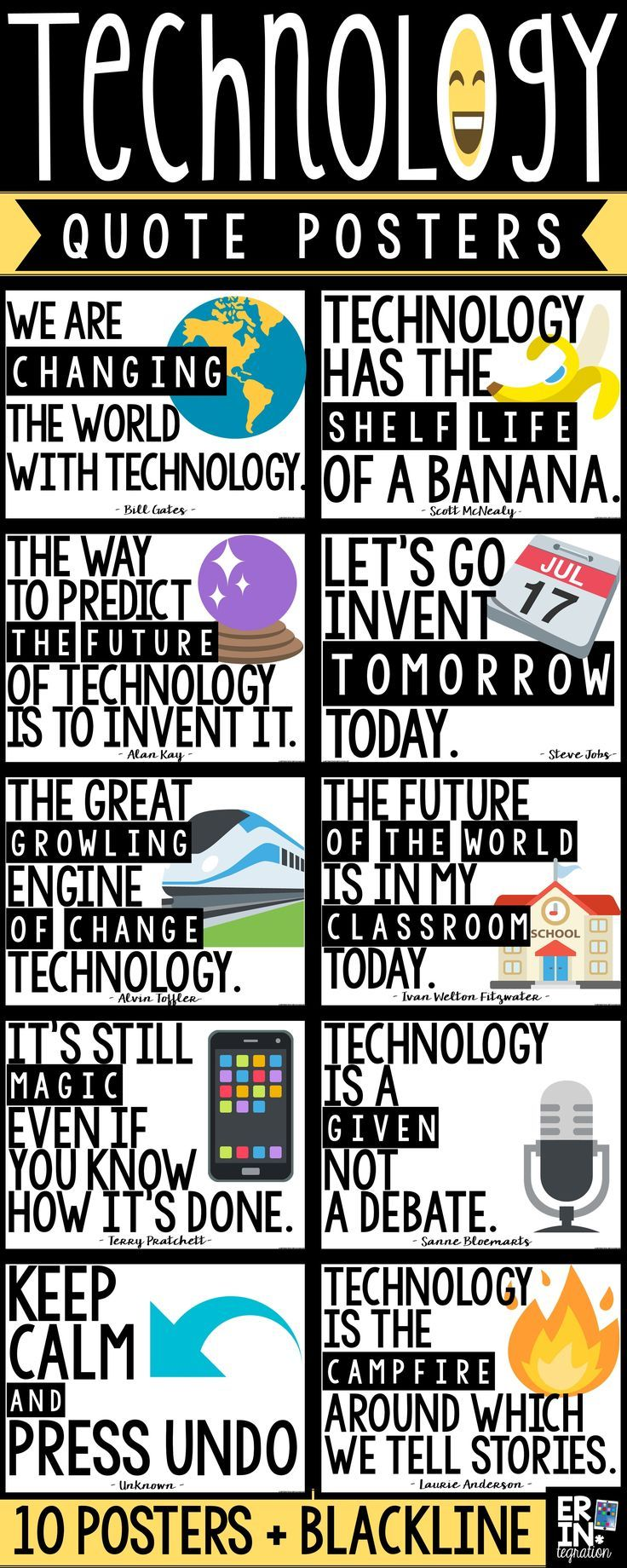 Technology quote posters, technology classroom decor, Emoji classroom decor, Emojis in the classroom, technology posters, technology bulletin board