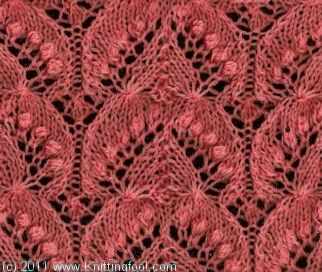 Nupp Lace 1 - Knittingfool Stitch Detail - pattern on page 21 - this is the main pattern for the Queen Silvia Wedding Shawl in my previous pin
