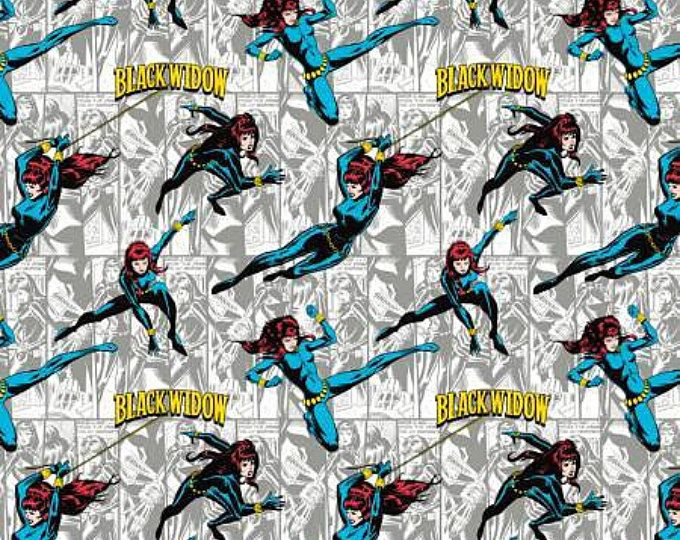 Marvel III Comics Black Widow In Orange Camelot Cotton Fabric By The Yard
