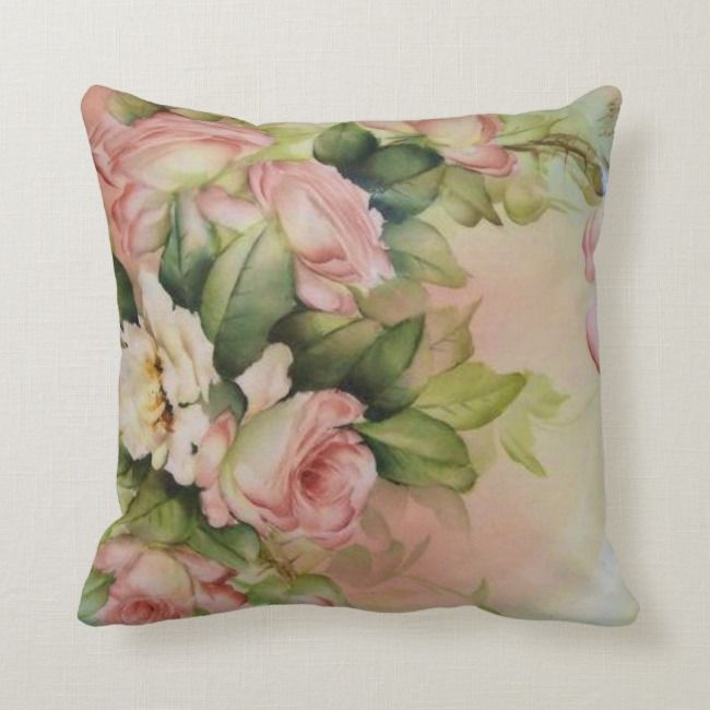 Antique Hand Painted Roses Pattern Throw Pillow Rose Antique Vintage Vicrorian Roses Throw Pillows Hand Painted Roses Patterned Throw Pillows