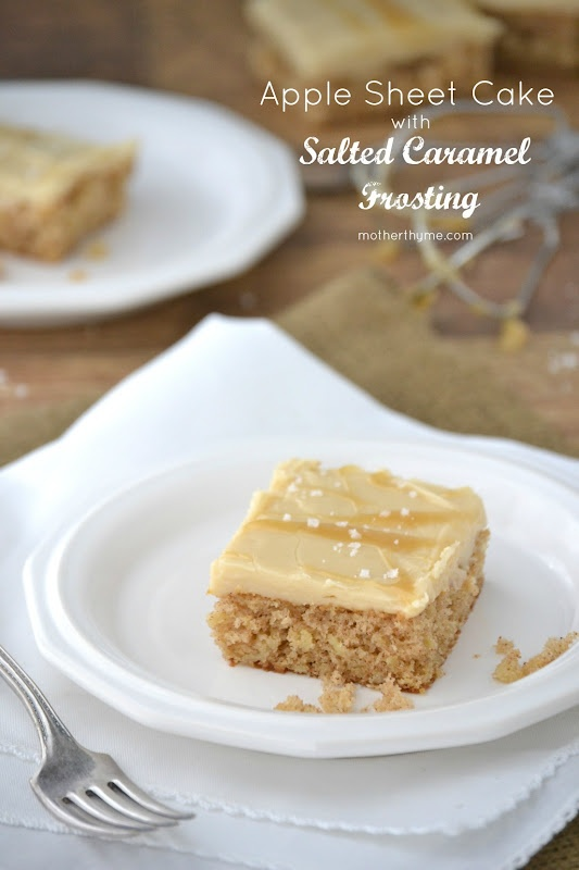 Apple Sheet Cake with Salted Caramel Frosting from @Jennifer | Mother ...